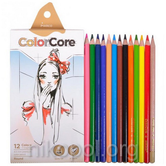 Набор цветных карандашей MARCO ColorCore 3130-12CB, 12+1 цветов