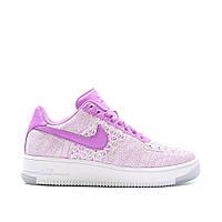 Женские кроссовки Nike Air Force 1 Flyknit Low purple/white (Реплика ААА+)
