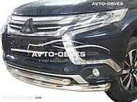 Защита бампера Mitsubishi Pajero Sport двойной ус