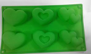 Форма силиконовая сердца ассорти 6 шт