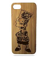 """Дерев'яний чохол  Wooden Cases для Apple iPhone 5\5s\SE з лазерним гравіюванням """"Bart Simpson"""""""