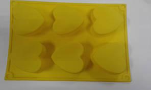 Форма силиконовая сердца 6 шт