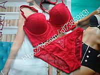 Комплект женского нижнего белья красный 75с