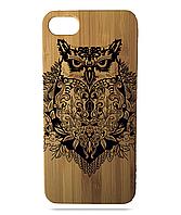 """Дерев'яний чохол  Wooden Cases для Apple iPhone 5\5s\SE з лазерним гравіюванням """"Сова"""""""