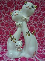 Коты Семья  Статуэтка Белый фарфор