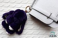 Меховой зайка, брелок кролик фиолетовый