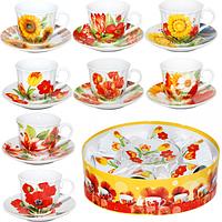"""Сервиз чайный 12 предметов в подарочной упаковке""""Цветы"""" 151-03"""