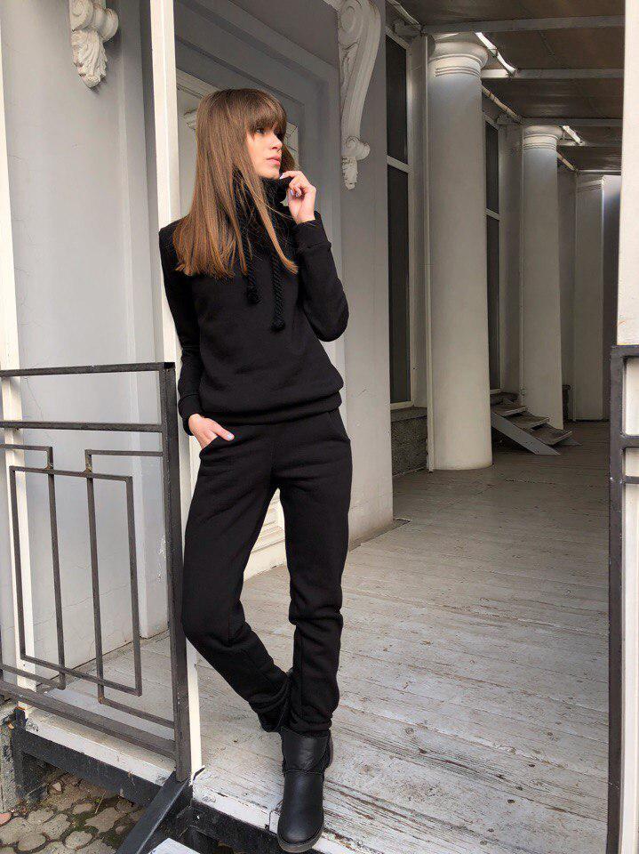 21ca0905 Женский теплый костюм на флисе, черного цвета с канатами: продажа ...