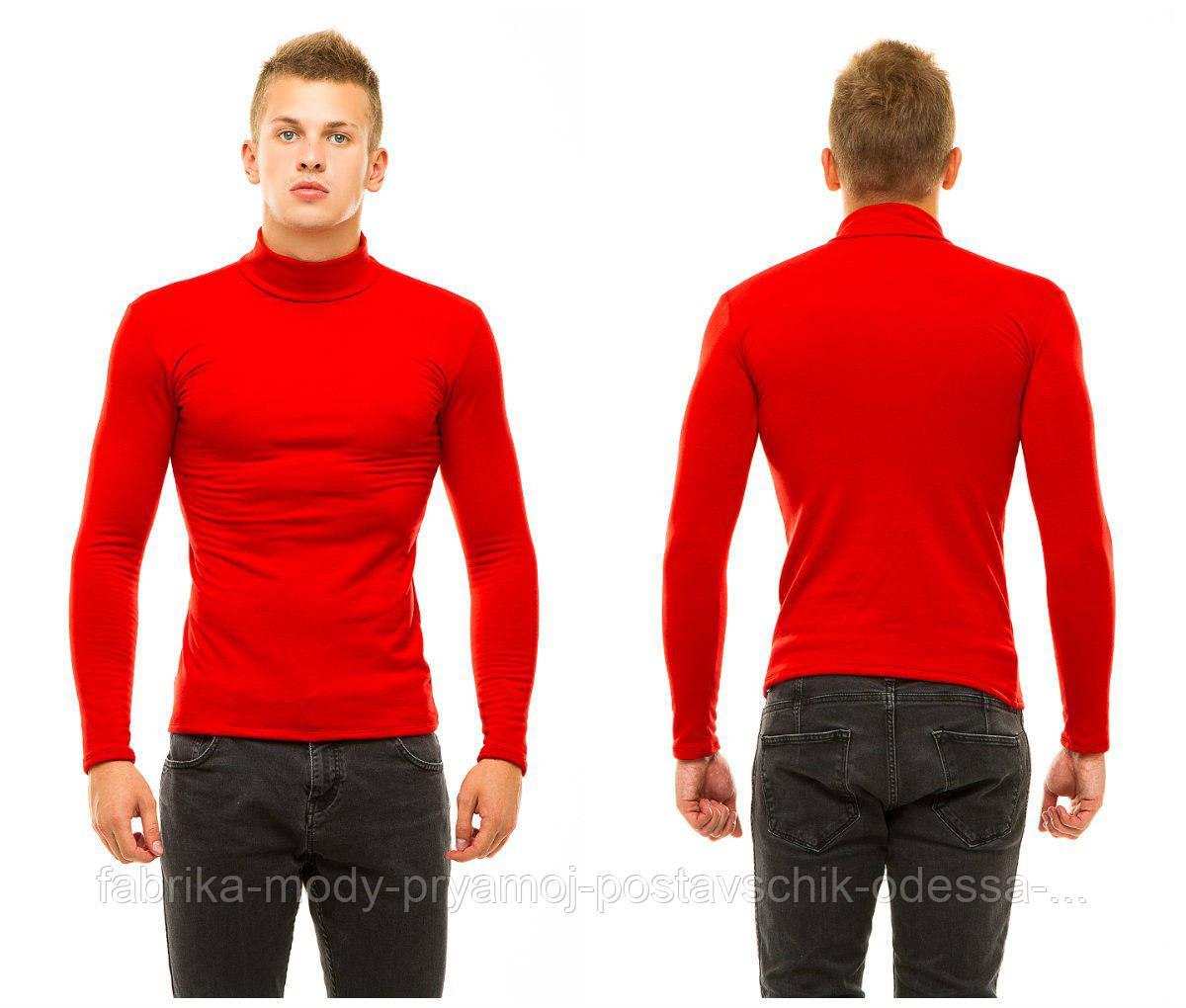 Гольф мужской трикотаж на флисе теплый красный