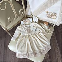 """Комплект для крещения """"Аріна"""" Крыжма, платье, повязочка, пинетки"""