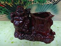 Хотей или Будда с жезлом Жуи, с мешком, тыквой Горлянкой и чашей богатства Стакан для ручек Красная смола