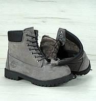 Зимние ботинки Timberland classic 6 inch grey с натуральным мехом (тимберленд)
