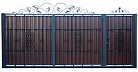 Ворота и калитка с элементами ковки А-9
