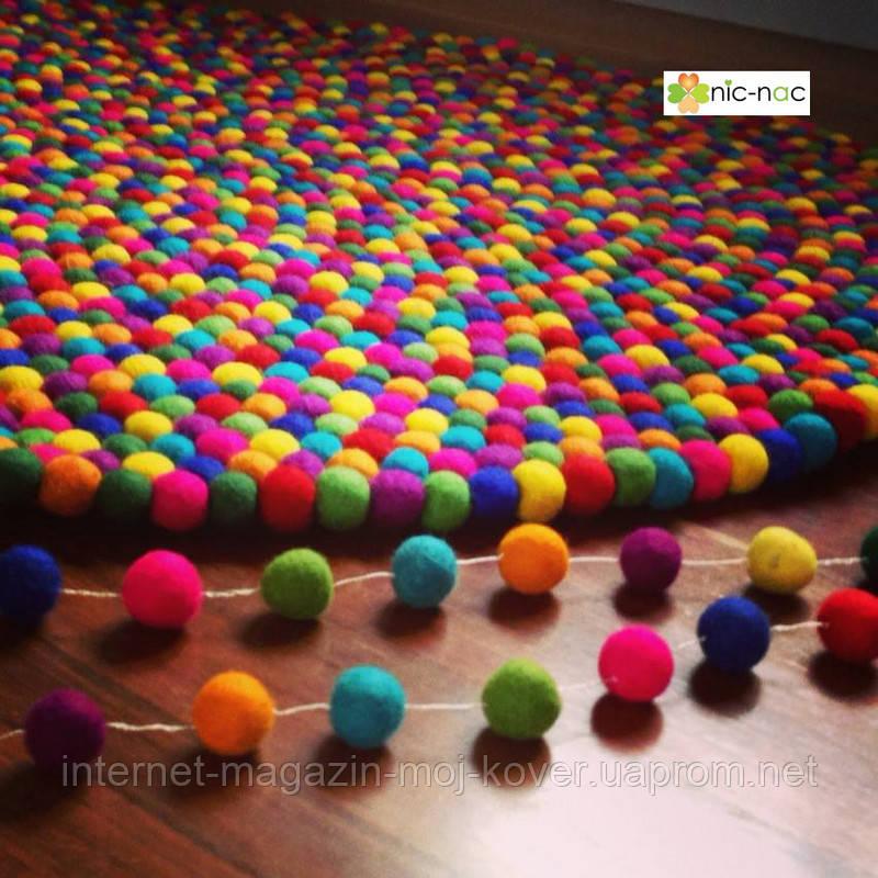 Ковры из войлочных шариков, валяные ковры, разноцветные необычные ковры купить Киев
