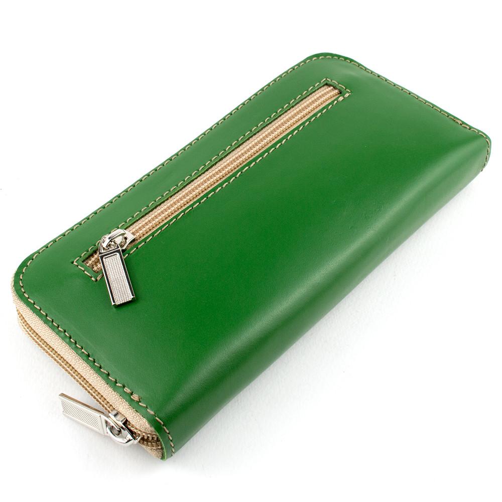 Женский кожаный кошелек на молнии LIKA (зеленый-2)