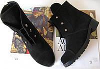 Кожаные женские демисезонные ботинки Hermes черного цвета обувь кэжл замша