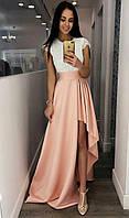 Женское вечернее платье из гипюра и атласа