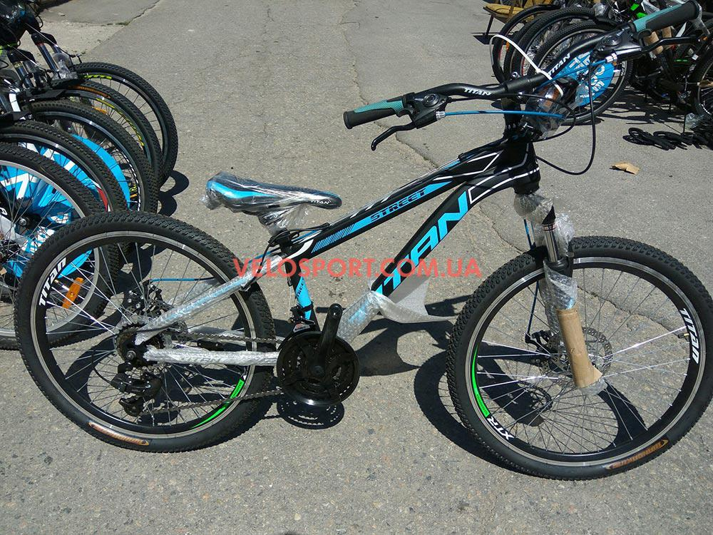 Подростковый велосипед Titan Street 24 дюйма черно-синий