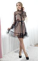 Платье из шелка с сеткой и оборками 133917