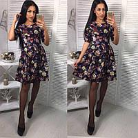 Джинсовое платье в цветочный принт с расклешенной юбкой 663933