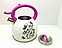 Чайник со свистком 3 литра А-Плюс WK-1389, двойное дно, нержавеющая сталь, термо-рисунок, ручки бакелит, фото 4