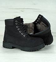 Зимние ботинки Timberland classic 6 inch black с натуральным мехом (Реплика ААА+)