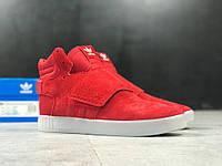 Кроссовки Adidas Tubular Invader Strap red. Живое фото (Реплика ААА+)