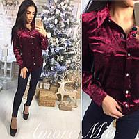 Женская рубашка из мраморного велюра в расцветках 56369