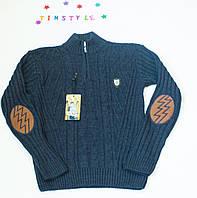 Вязаный синий свитер на мальчика  8-10 лет