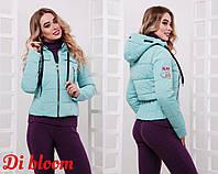 Женская короткая куртка весна-осень с капюшоном в расцветках 78165