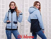 Короткая женская прямая демисезонная куртка с капюшоном 78166