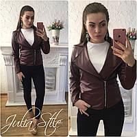 Кожаная женская куртка косуха в расцветках 78168