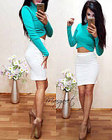 Женский юбочный костюм с асимметричным топом 780276