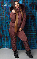 Женский зимний теплый костюм однотонный с мехом на капюшоне 13820