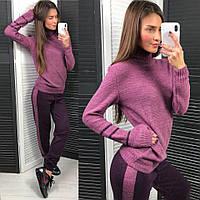 Костюм женский стильный свитер с воротником -гольф и брюки с лампасами вязка разные цвета DLd751, фото 1