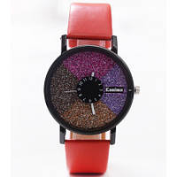 Часы женские Stardust Секции красный ремешок 075-1 Код:20421