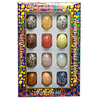 Яйца из полудрагоценных камней (н-р/12шт)(яйцо h-3.5 см d- 2.5 см)(упаковка 27х18х3,5 см) Код:26542