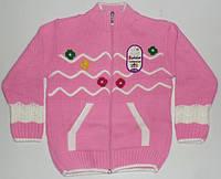 Теплая вязанная кофта для девочки   7-8 лет