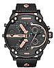 Мужские часы Diesel Brave, кварцевые, элитные часы Дизель Брейв,кожанный ремешек, черные с золотом