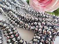 Бусины хрустальные 8х6 мм, 20-22 шт, цвет серебро (гальваника), фото 1