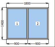Окно металлопластиковое глухое 1800*1400