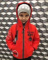 Демисезонная детская курточкакрасного цвета для мальчика 4-7лет,двухсторонняя