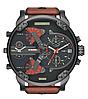 Мужские часы Diesel Brave, кварцевые, элитные часы Дизель Брейв,кожанный ремешек, черные с оранжевым