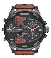 Мужские часы Diesel Brave, кварцевые, элитные часы Дизель Брейв,кожанный ремешек, черные с оранжевым, фото 1