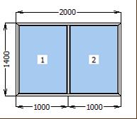 Окно металлопластиковое глухое 2000*1400