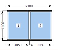 Окно металлопластиковое глухое 2100*1400