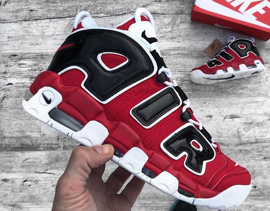Кроссовки Nike Air More Uptempo Red. Живое фото (Реплика ААА+), фото 1