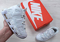Кроссовки Nike Air More Uptempo Triple White. Топ качество! Живое фото (Реплика ААА+)