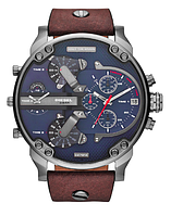 Мужские часы Diesel Brave, кварцевые, элитные часы Дизель Брейв,кожанный ремешек, черные с синим