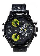 Мужские часы Diesel Brave, кварцевые, элитные часы Дизель Брейв,кожанный ремешек, черные с желтым